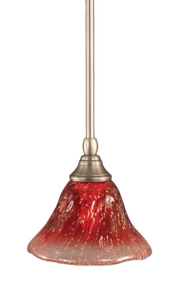 Concord plafond à 1 lumière, nickel brossé Pendeloque à incandescence avec un cristal de verre Fr...