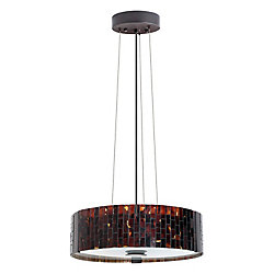 Eglo Troya Suspension 3L, Antique Brown Finish With Mosaic Glass