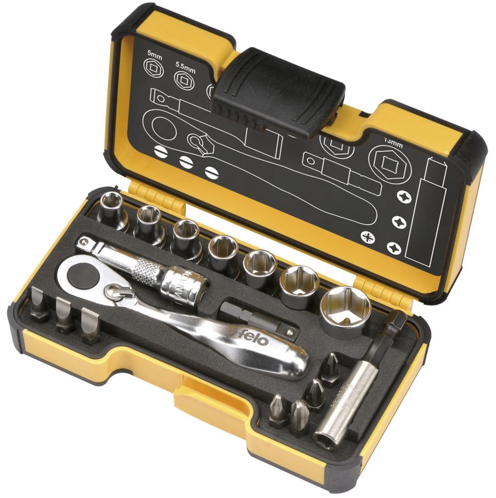 XS Pocket Size 18 Pcs Set With Mini Ratchet In Strong Box