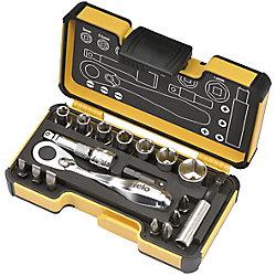 Felo 18 Pièces Felo XS Mini cliquet Taille Poche boîte à outils dans StrongBox