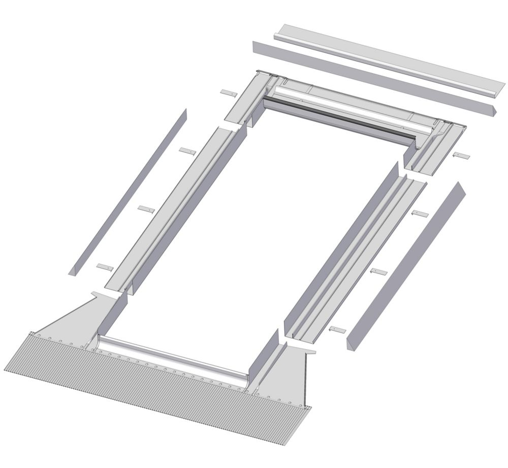 48-inch x 46-inch Fakro EH-A Skylight High Profile Step Flashing