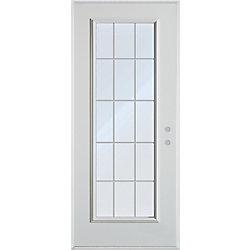 Stanley Doors Porte dentrée en acier peint avec grille interne à 15carreaux - ENERGY STAR®