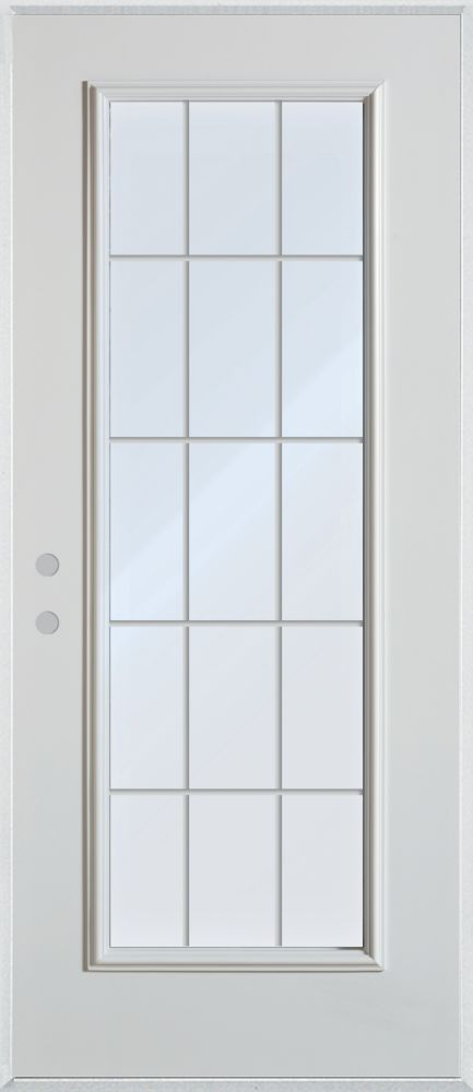 Stanley Doors 33.375 inch x 82.375 inch Clear Full Lite Prefinished White Right-Hand Inswing Steel Prehung Front Door with 15-Lite Internal Grill - ENERGY STAR®