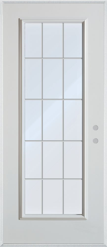 Stanley Doors 33.375 inch x 82.375 inch Clear Full Lite Prefinished White Left-Hand Inswing Steel Prehung Front Door with 15-Lite Internal Grill - ENERGY STAR®