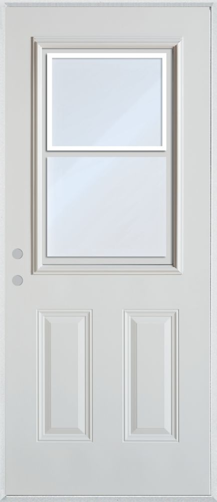 Stanley doors half lite vented 2 panel painted steel entry for Cheap exterior doors home depot