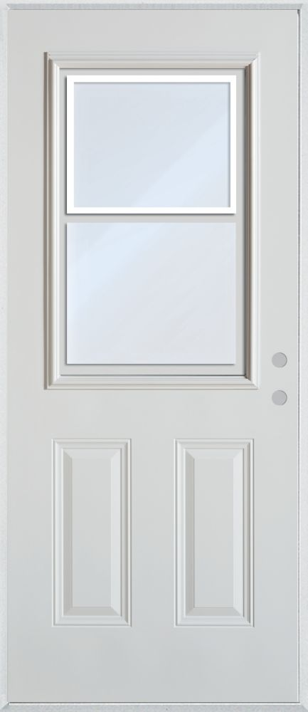 Stanley Doors 37.375 inch x 82.375 inch Clear 1/2 Lite 2-Panel Prefinished White Left-Hand Inswing Steel Prehung Front Door with Vented Window - ENERGY STAR®
