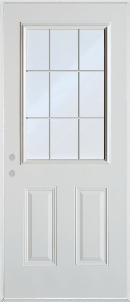 Stanley Doors 33.375 inch x 82.375 inch Clear 1/2 Lite 2-Panel Prefinished White Right-Hand Inswing Cladded Steel Prehung Front Door with 9-Lite Internal Grill - ENERGY STAR®