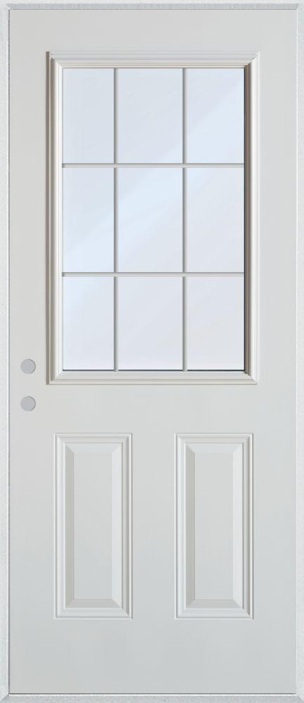 Porte dentrée en acier peint à deux panneaux et à vitre interne à neuf carreauxà neuf carreaux