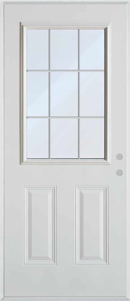 35.375 inch x 82.375 inch Clear 1/2 Lite 2-Panel Prefinished White Left-Hand Inswing Cladded Steel Prehung Front Door with 9-Lite Internal Grill - ENERGY STAR®