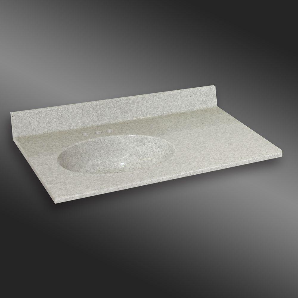 Malibu 37-Inch W x 22-Inch D Granite Left-Hand Basin Vanity Top in Willow Mist