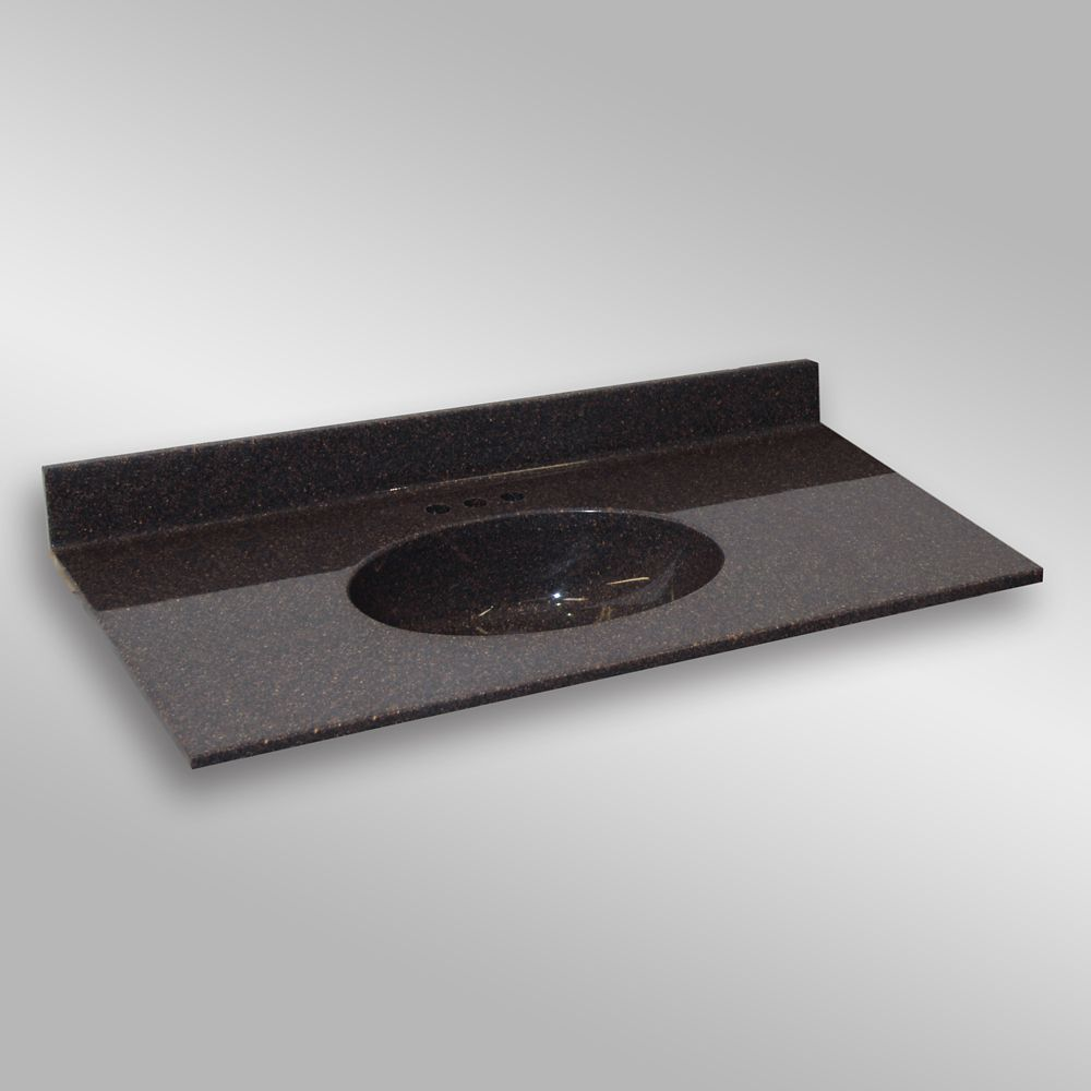 Malibu 49-Inch W x 22-Inch D Granite Centre Basin Vanity Top in Espresso