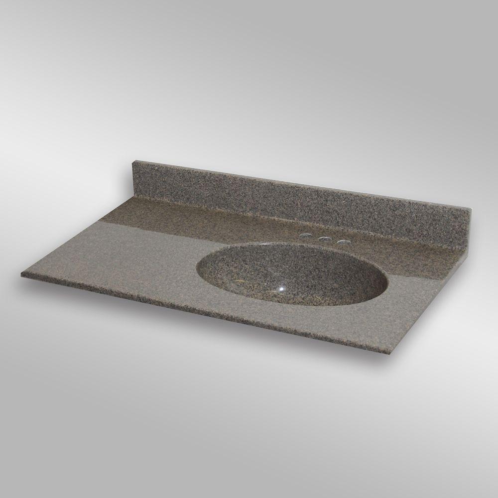 Malibu 37-Inch W x 22-Inch D Granite Right-Hand Basin Vanity Top in Carioca Stone