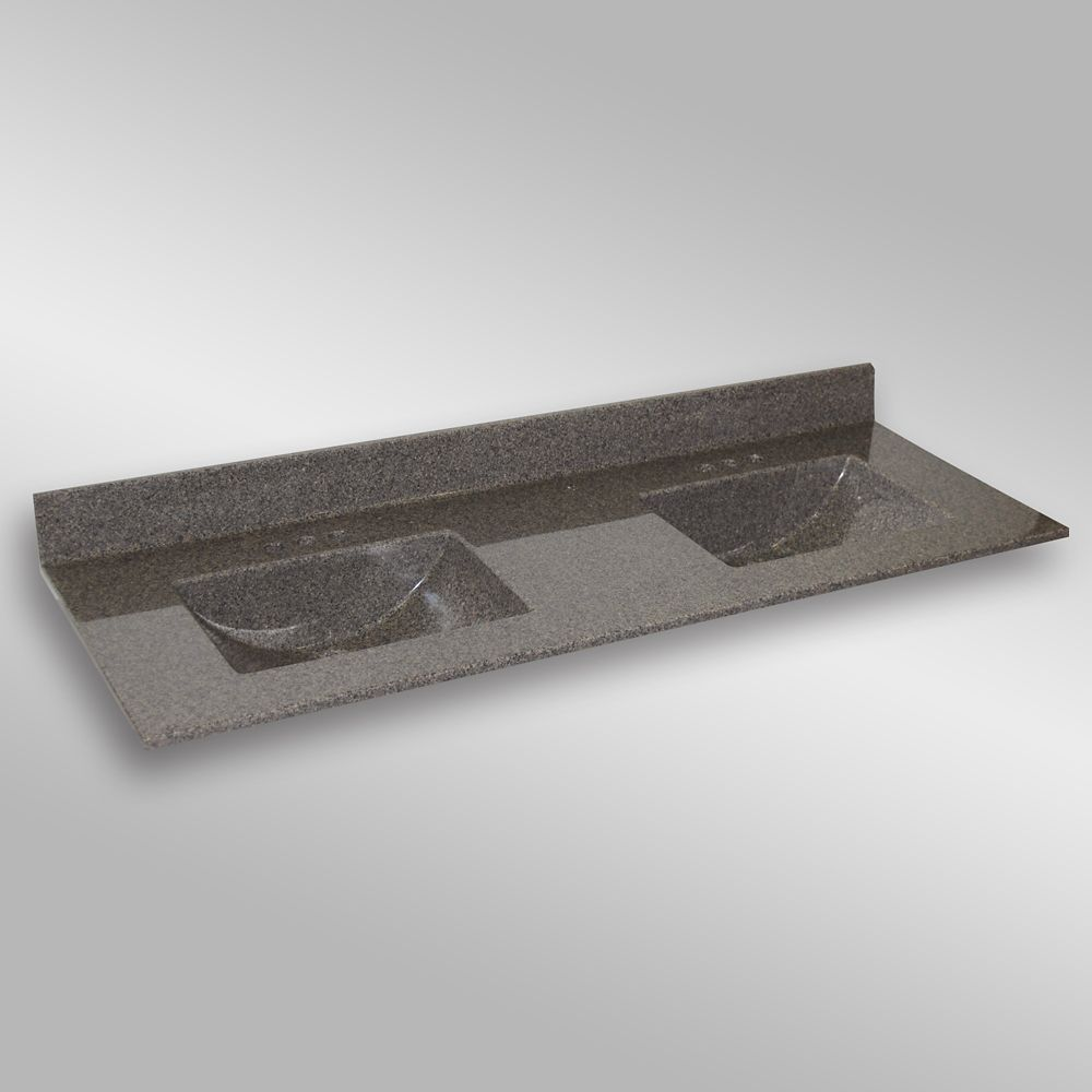 Wave 61-Inch W x 22-Inch D Granite Double Basin Vanity Top in Carioca Stone