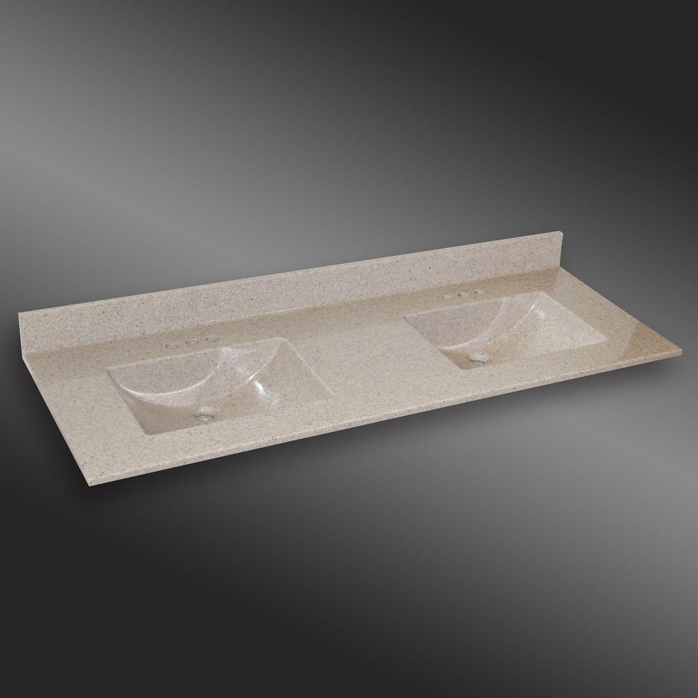 Wave 61-Inch W x 22-Inch D Granite Double Basin Vanity Top in Carioca Stone