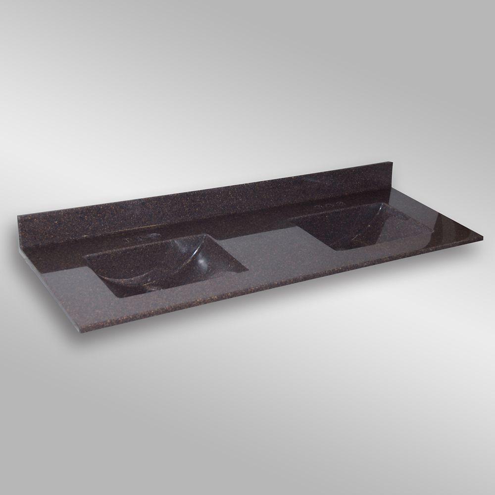 Wave 61-Inch W x 22-Inch D Granite Double Basin Vanity Top in Espresso