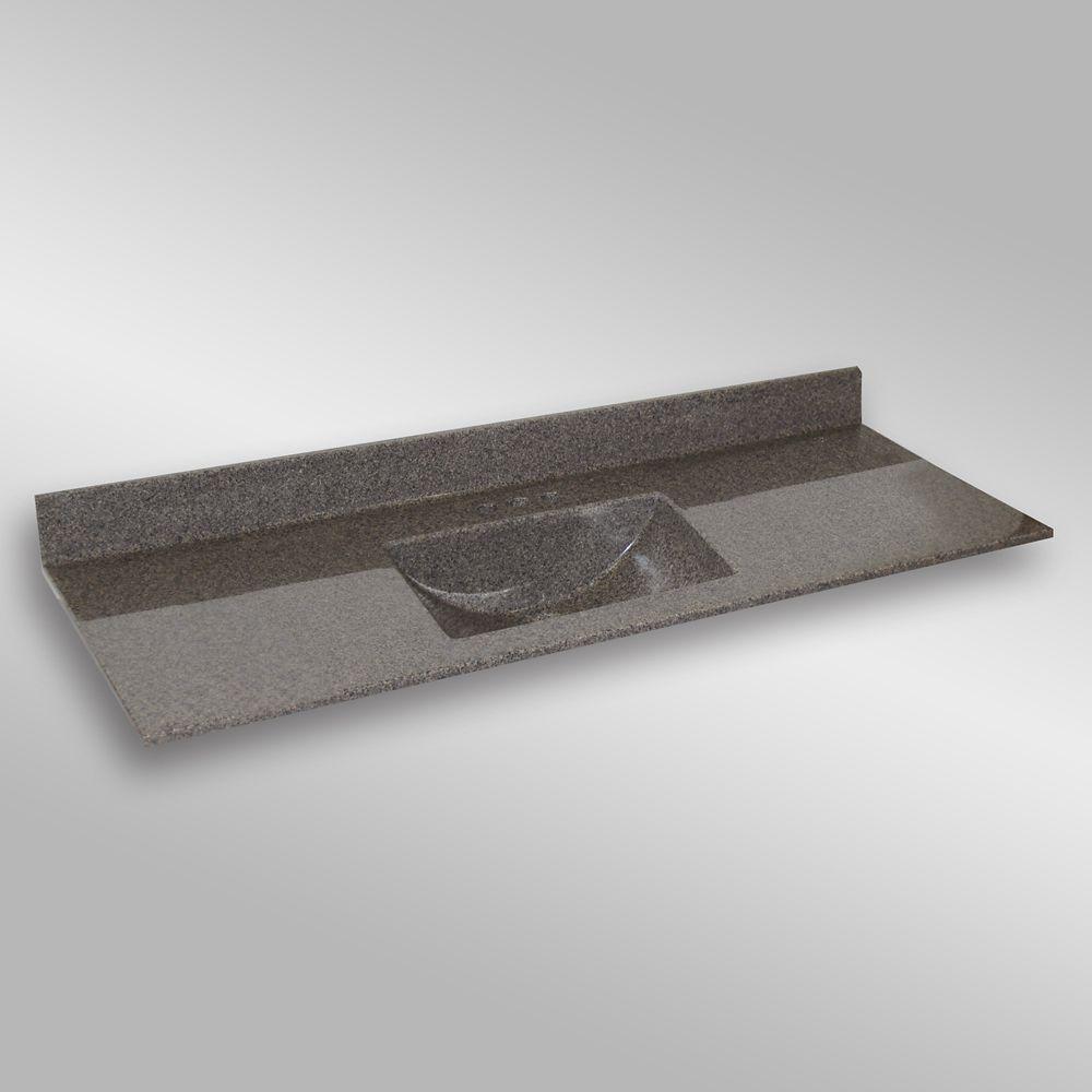 Wave 61-Inch W x 22-Inch D Granite Centre Basin Vanity Top in Carioca Stone