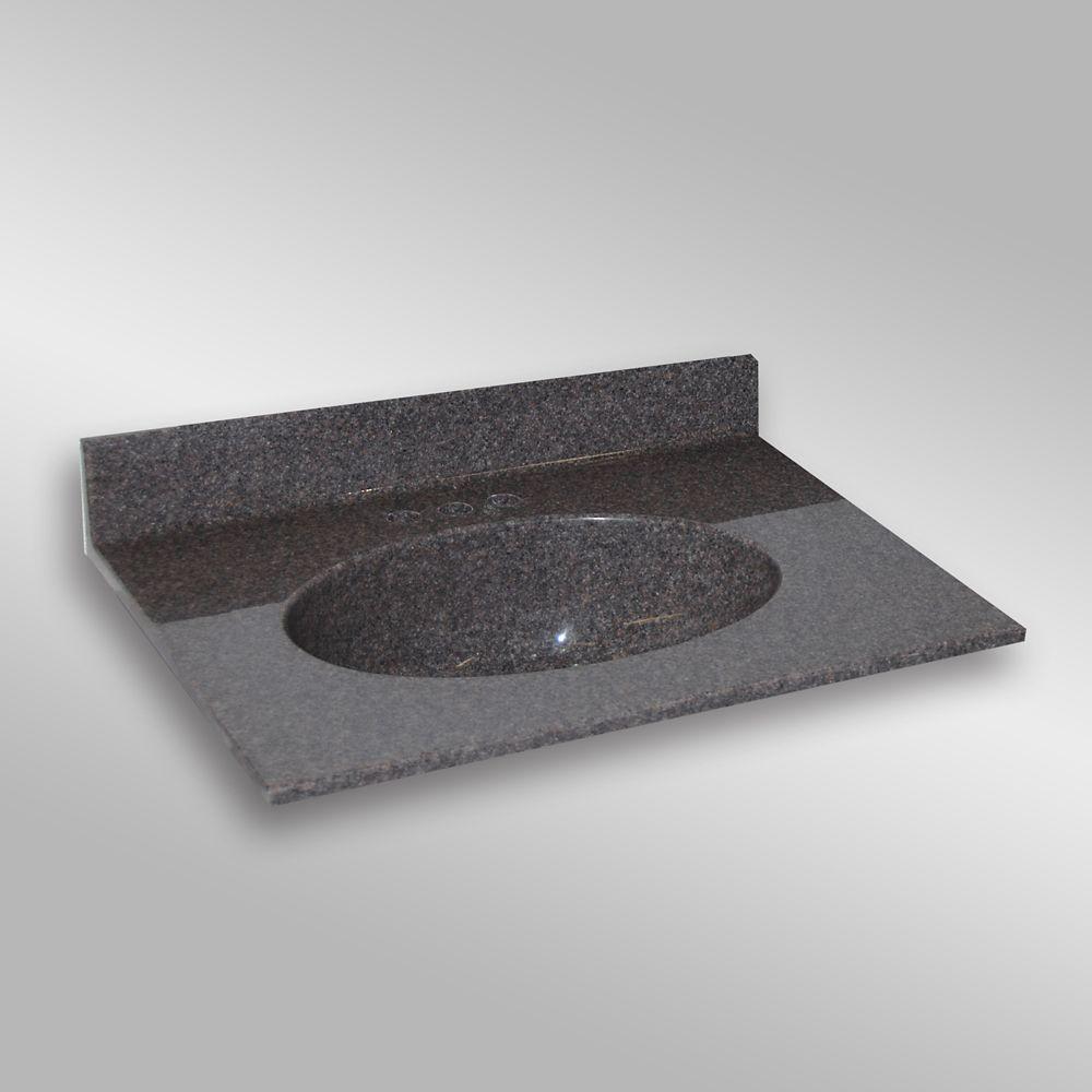 Malibu 31-Inch W x 22-Inch D Granite Centre Basin Vanity Top in Mystique