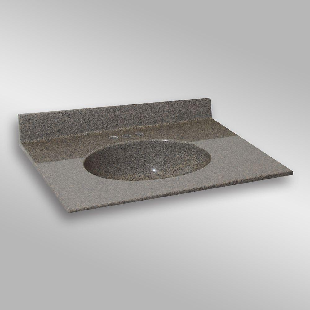 Malibu 37-Inch W x 22-Inch D Granite Centre Basin Vanity Top in Carioca Stone