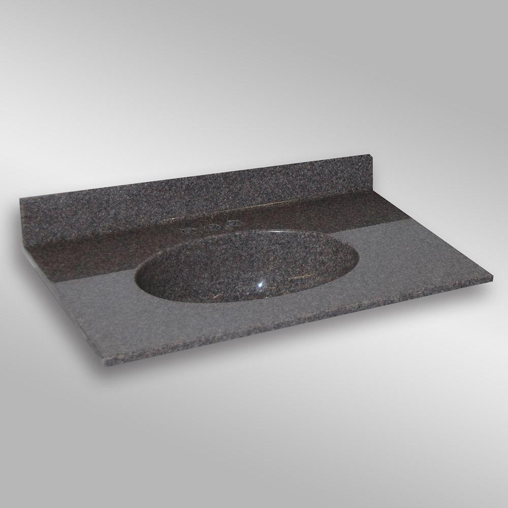 Malibu lavabo centré, PG901- Mystique- 37 x 22 pouces