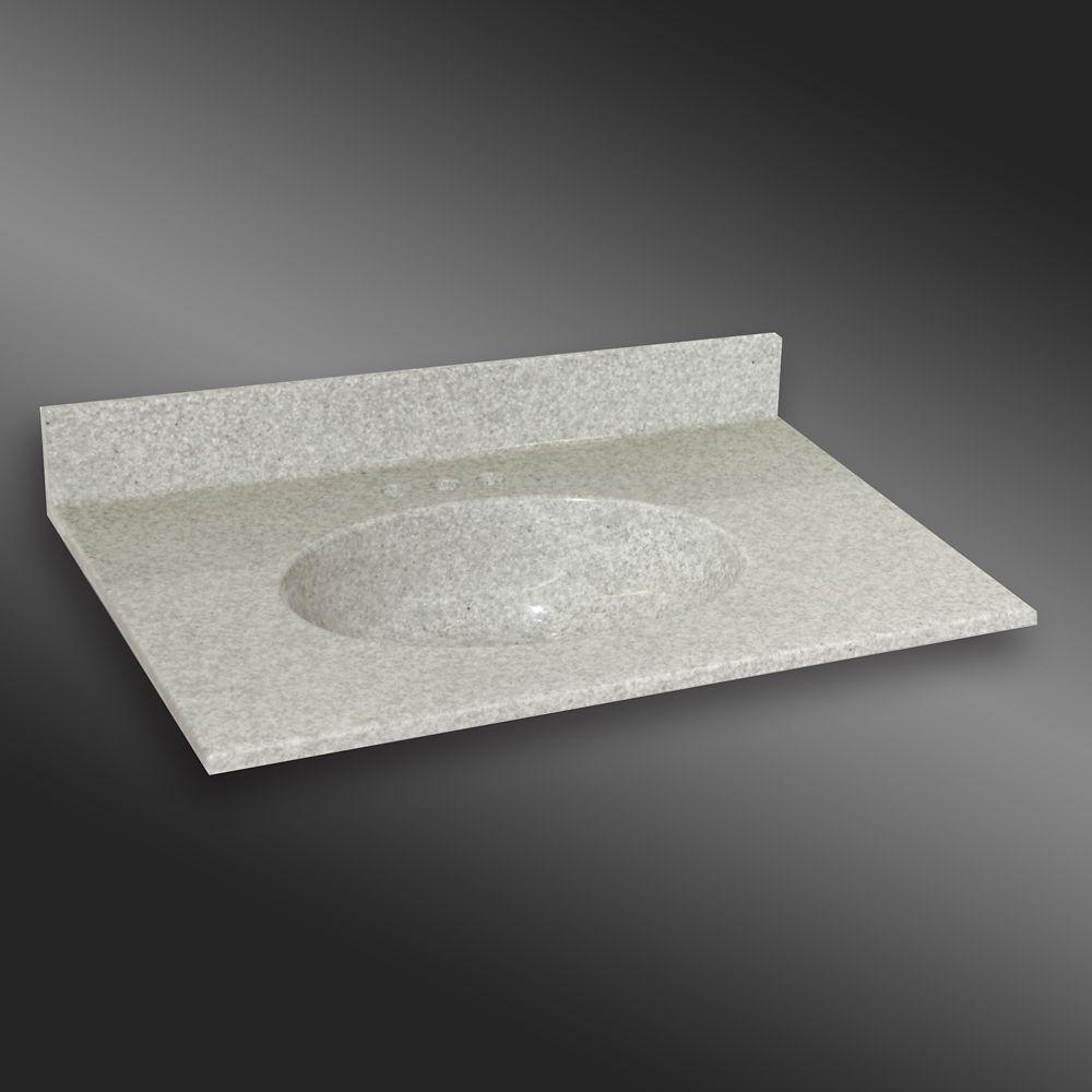 Malibu 37-Inch W x 22-Inch D Granite Centre Basin Vanity Top in Willow Mist