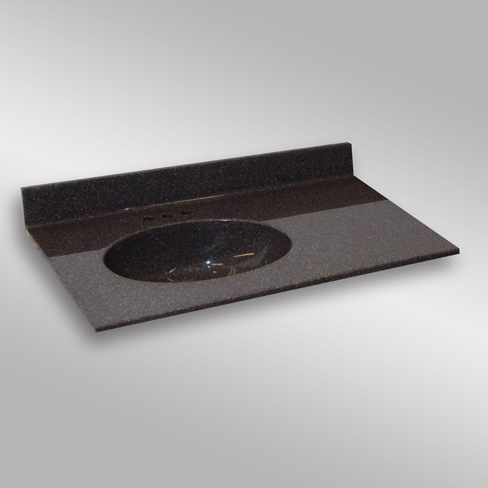 Malibu 37-Inch W x 22-Inch D Granite Left-Hand Basin Vanity Top in Espresso