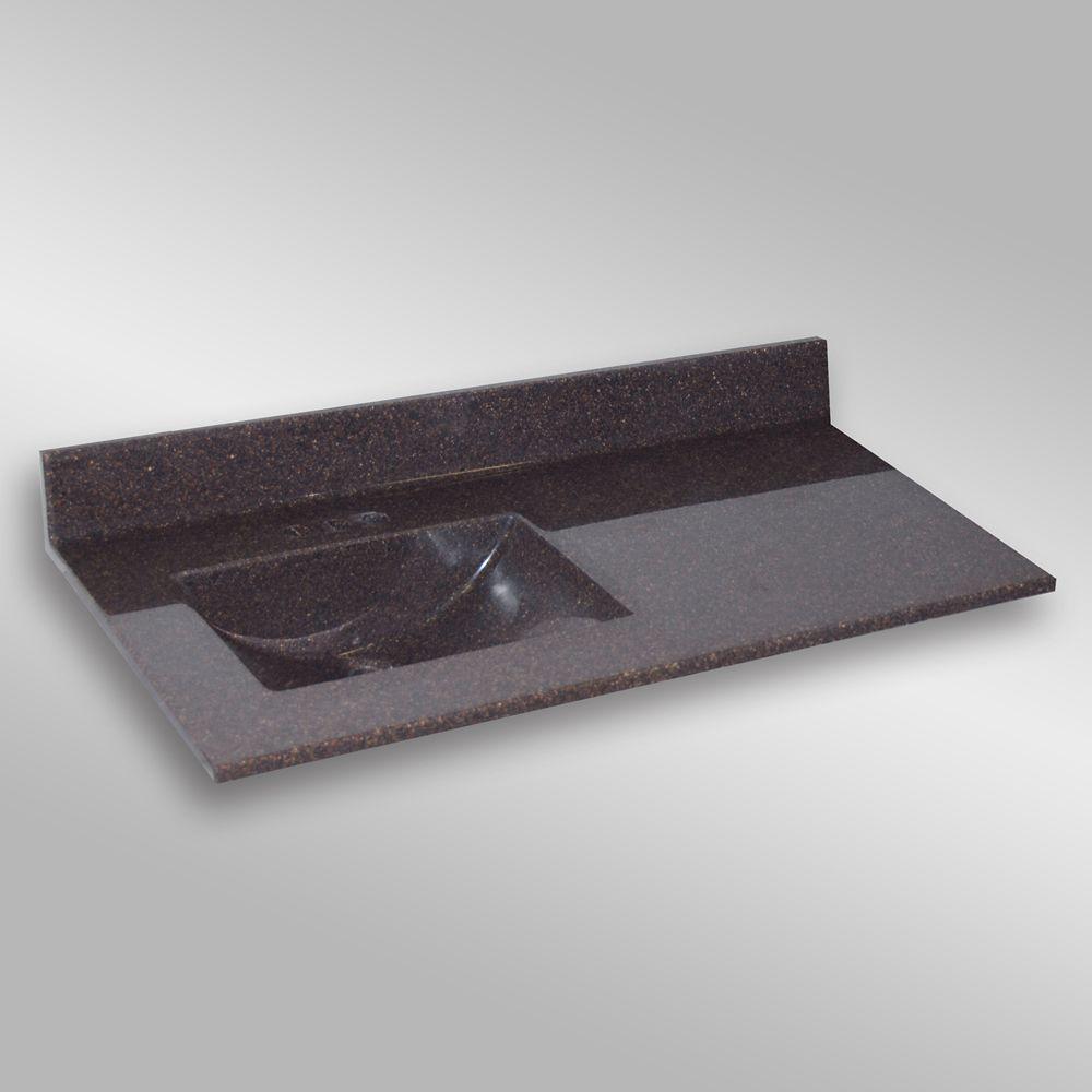 Wave 49-Inch W x 22-Inch D Granite Left-Hand Basin Vanity Top in Espresso