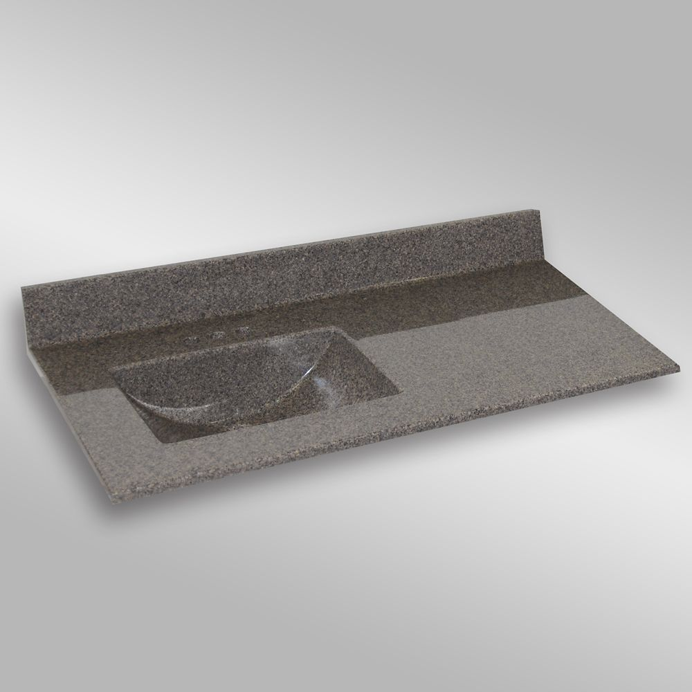 Wave 49-Inch W x 22-Inch D Granite Left-Hand Basin Vanity Top in Carioca Stone
