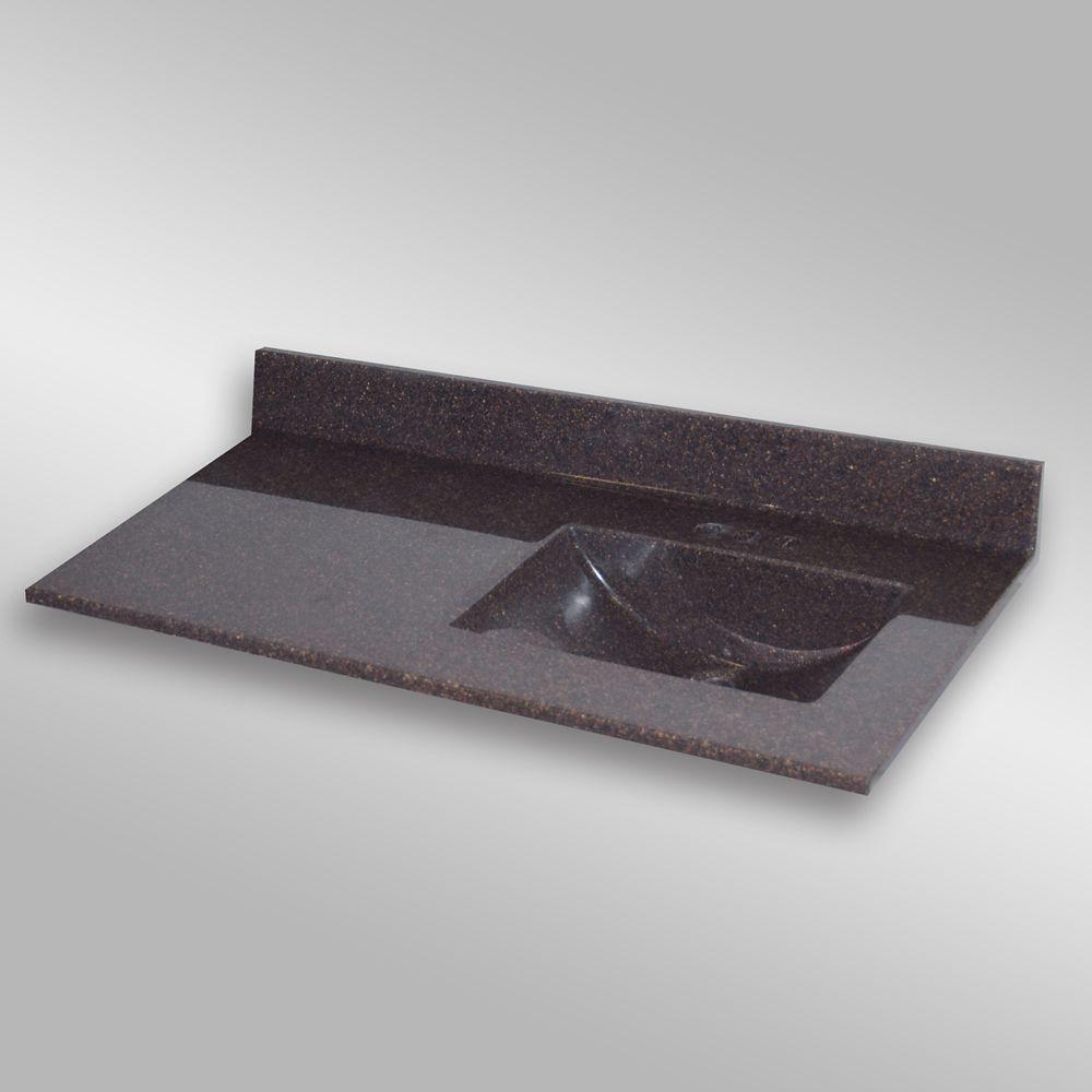Wave 49-Inch W x 22-Inch D Granite Right-Hand Basin Vanity Top in Mystique