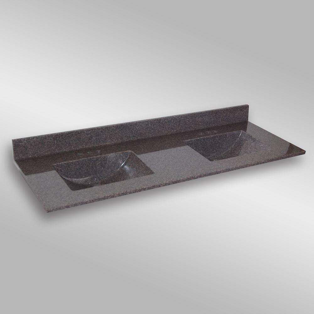 Wave 61-Inch W x 22-Inch D Granite Double Basin Vanity Top in Mystique