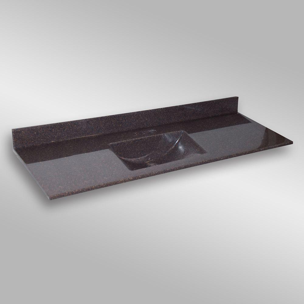 Wave 61-Inch W x 22-Inch D Granite Centre Basin Vanity Top in Espresso
