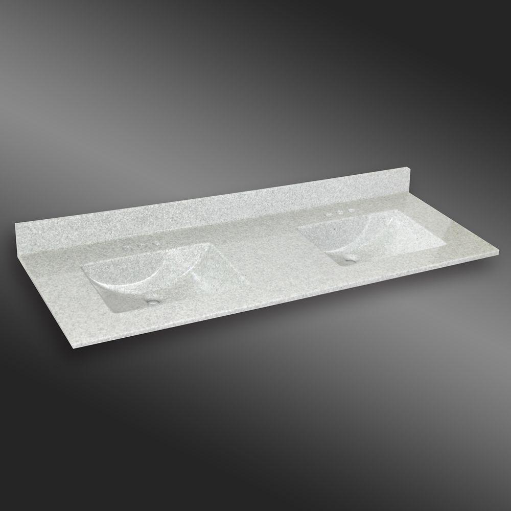 Ondulé lavabo double, PG907- Brume de Willow- 61 x 22 pouces