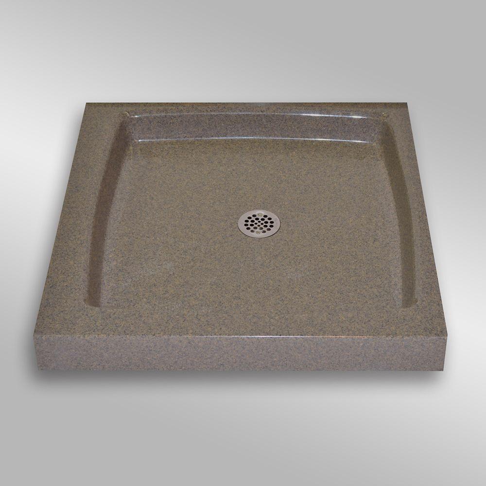 Single Threshold Shower Base, PG144 Carioca Stone- 32 x 32 inches