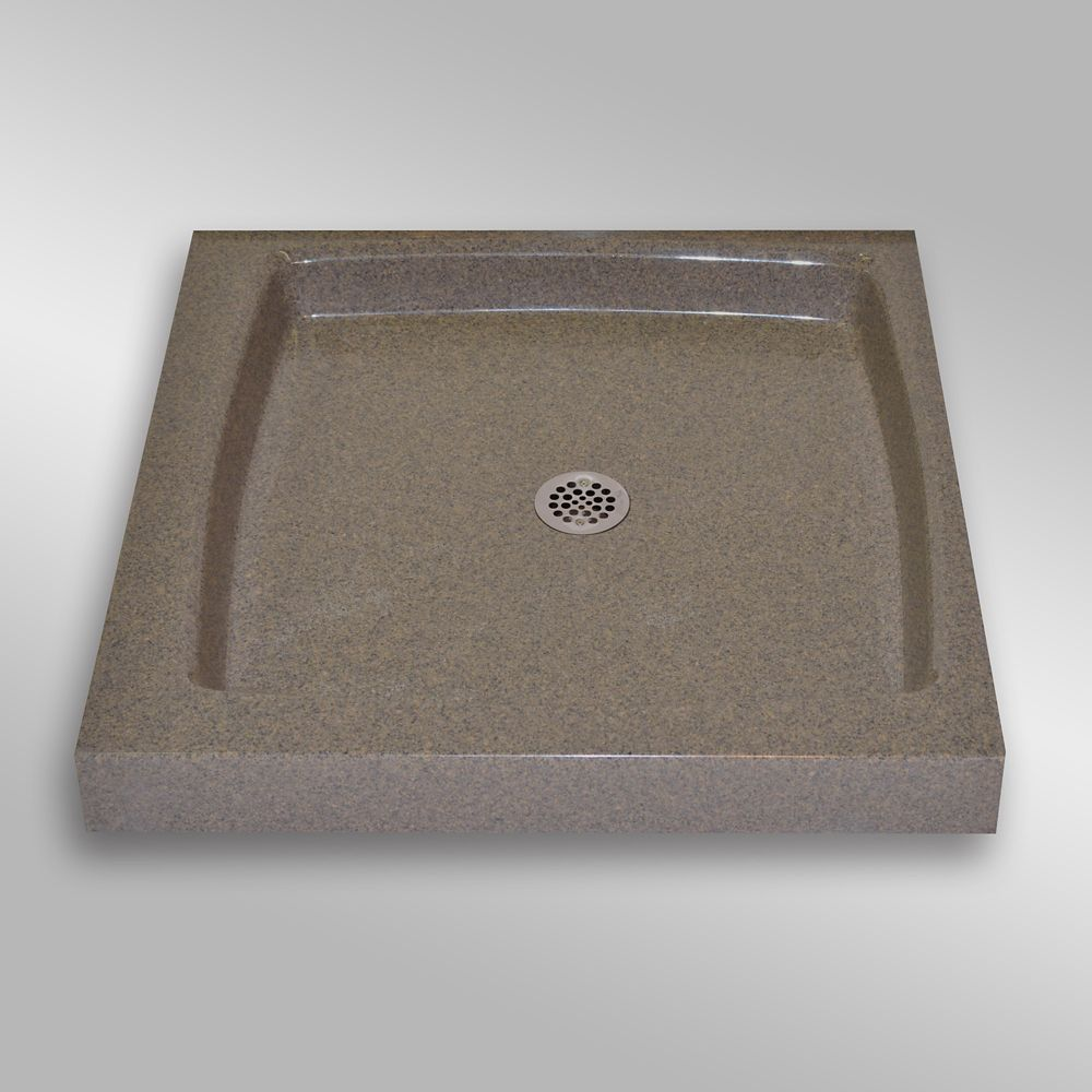 Single Threshold Shower Base, PG144 Carioca Stone- 36 x 36 inches