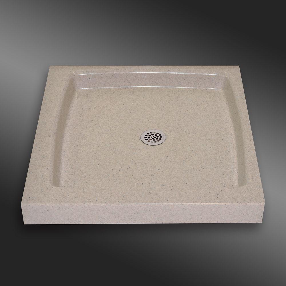 Single Threshold Shower Base, PG141 Irish Cream- 36 x 36 inches