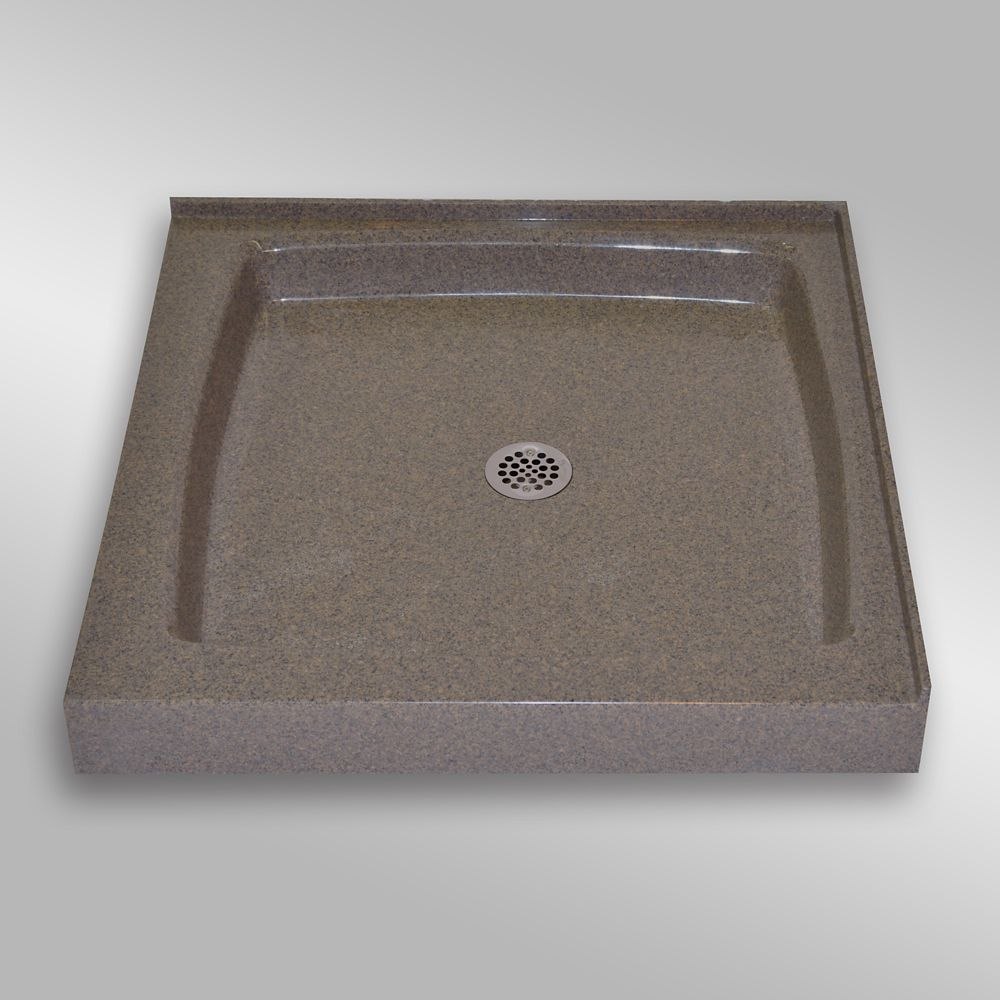 Double Threshold Shower Base, PG144 Carioca Stone- 36 x 36 inches