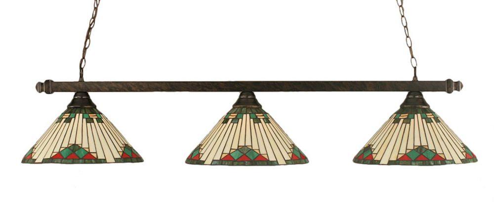 Concord 3 lumières plafond Bronze Incandescent Bar Billard avec un vert verre selon Tiffany
