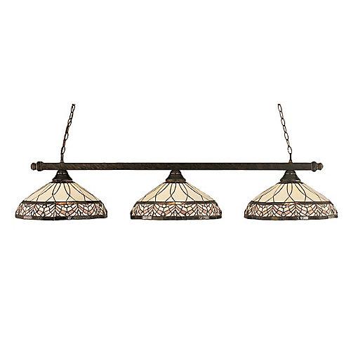 Concord 3 lumières plafond Bronze Incandescent Bar de billard avec A Royal Merlot Le verre selon Tiffany