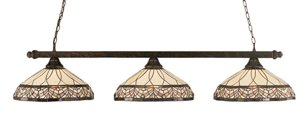 Concord 3-Light Ceiling Bronze Billiard Bar with a Royal Merlot Tiffany Glass