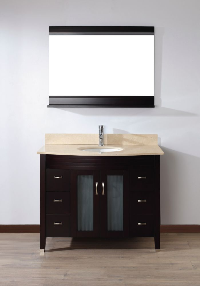 Art Bathe Alba 42-inch W 4-Drawer 2-Door Vanity in Brown With Marble Top in Beige Tan With Faucet And Mirror