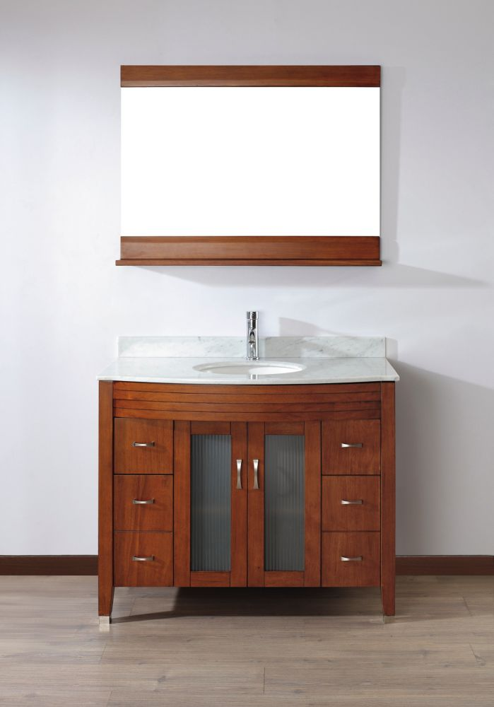 Alba 42-inch W Vanity in Classic Cherry/Carrara Finish with Mirror and Faucet
