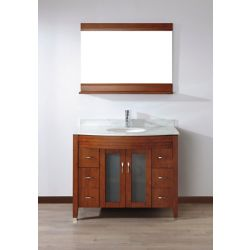 Art Bathe Alba 22-inch W 4-Drawer 2-Door Vanity in Brown With Marble Top in Grey With Faucet And Mirror