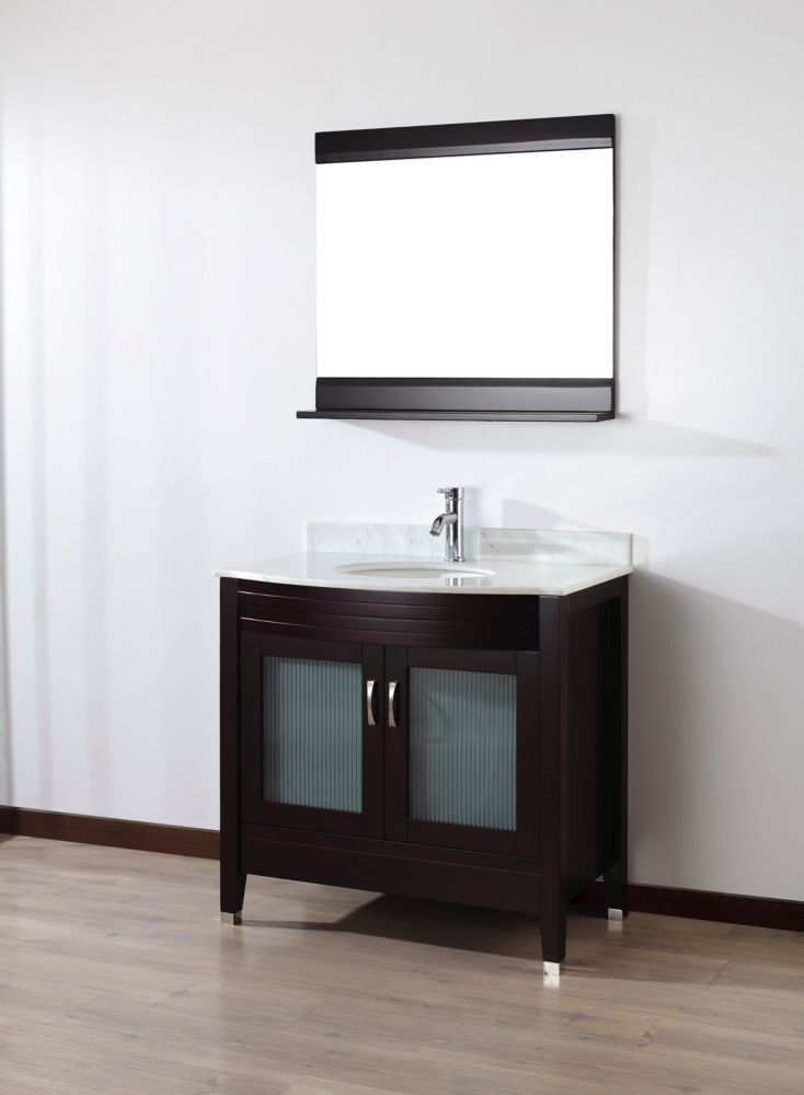 Alba 36-inch W 2-Door Vanity in Brown With Marble Top in Grey With Faucet And Mirror