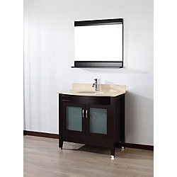 Art Bathe Alba 36-inch W 1-Drawer 2-Door Vanity in Brown With Marble Top in Beige Tan With Faucet And Mirror