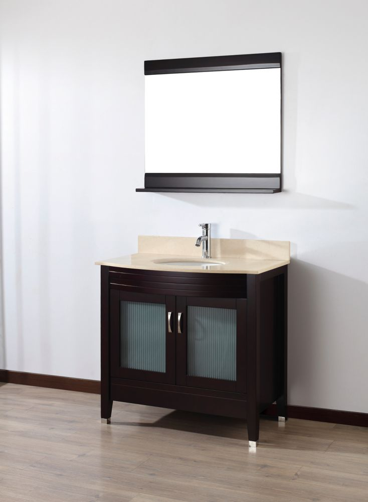 Alba 36-inch W Vanity in Chai/Beige Finish with Mirror and Faucet