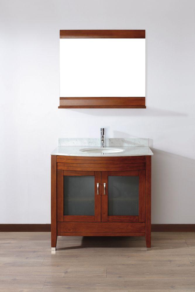 Vanité Alba 36 de couleur cerise classique / Carrera avec miroir et robinet