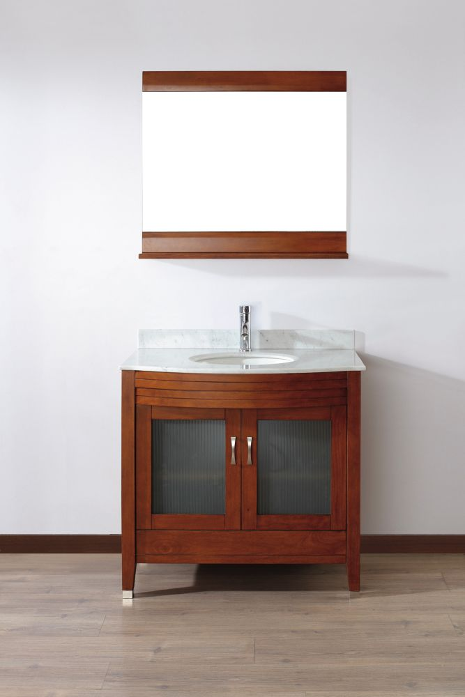 Alba 22-inch W 1-Drawer 2-Door Vanity in Brown With Marble Top in Grey With Faucet And Mirror