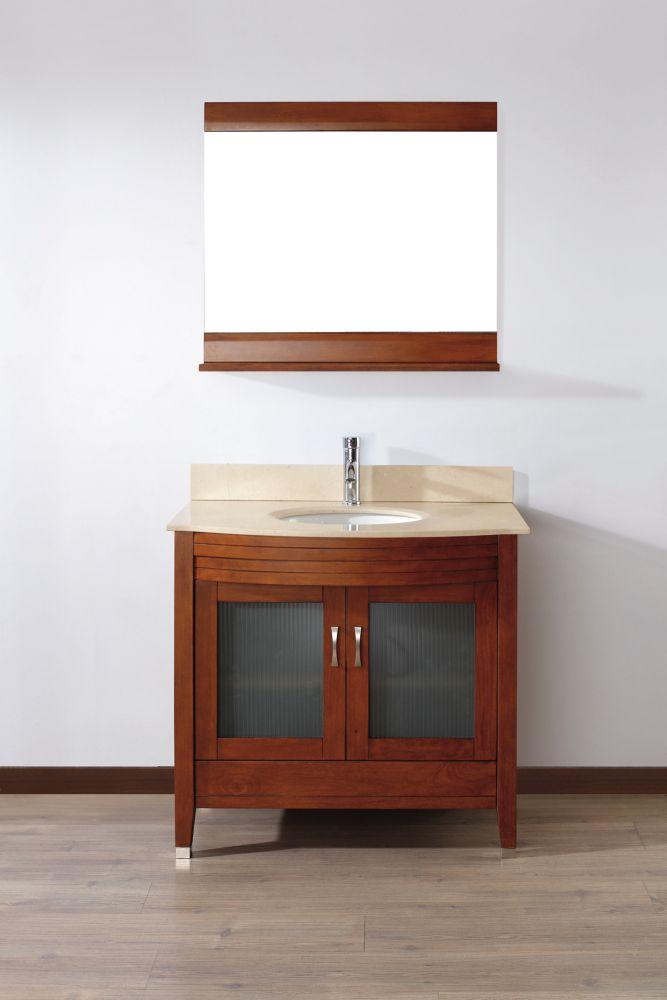 Vanité Alba 36 de couleur cerise classique / Beige avec miroir et robinet