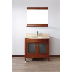 Art Bathe Alba 22-inch W 1-Drawer 2-Door Vanity in Brown With Marble Top in Beige Tan With Faucet And Mirror