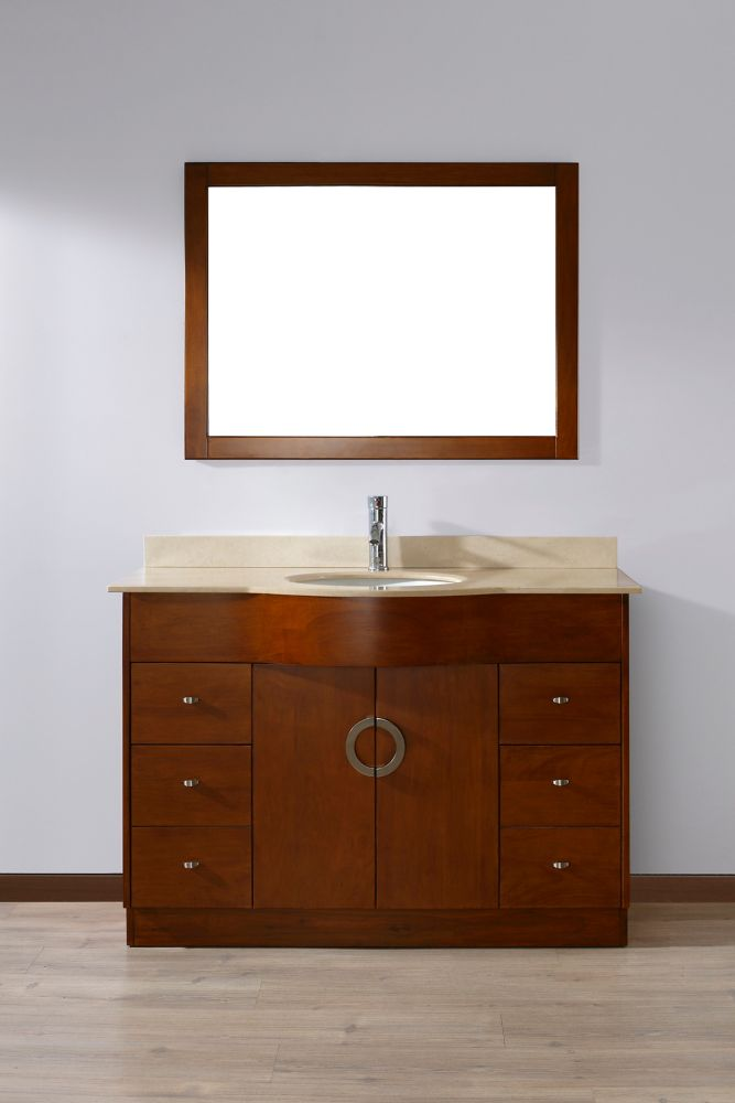Zoe 22-inch W 4-Drawer 2-Door Vanity in Brown With Marble Top in Beige Tan With Faucet And Mirror
