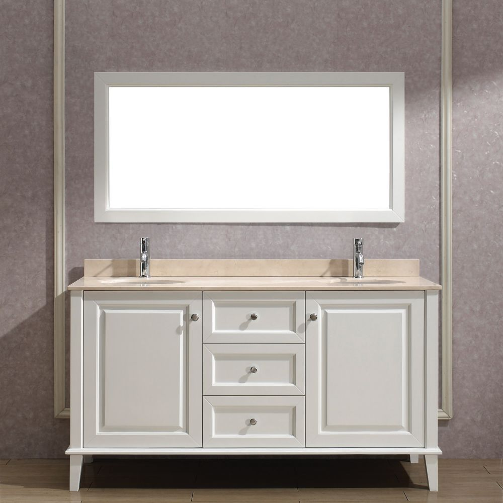 Lily 63-inch W Vanity in White with Marble Top in Beige with Porcelain Basin and Mirror